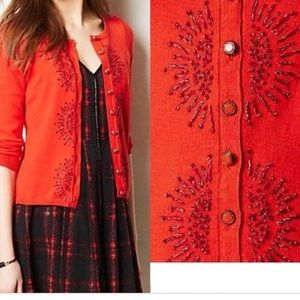 Anthro monorgram hwr French knot red cardigan L